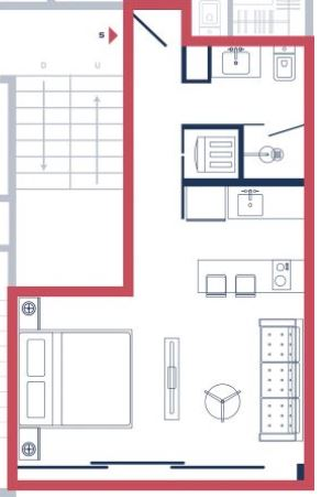 Floor Plan for Brand New Studio!!! ZilHa 42- Steps from 5th Avenue