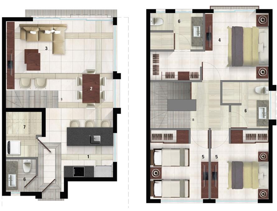 Floor Plan for Nagel's Lagoon Villa@Mayakoba, 3BD Town-Villa