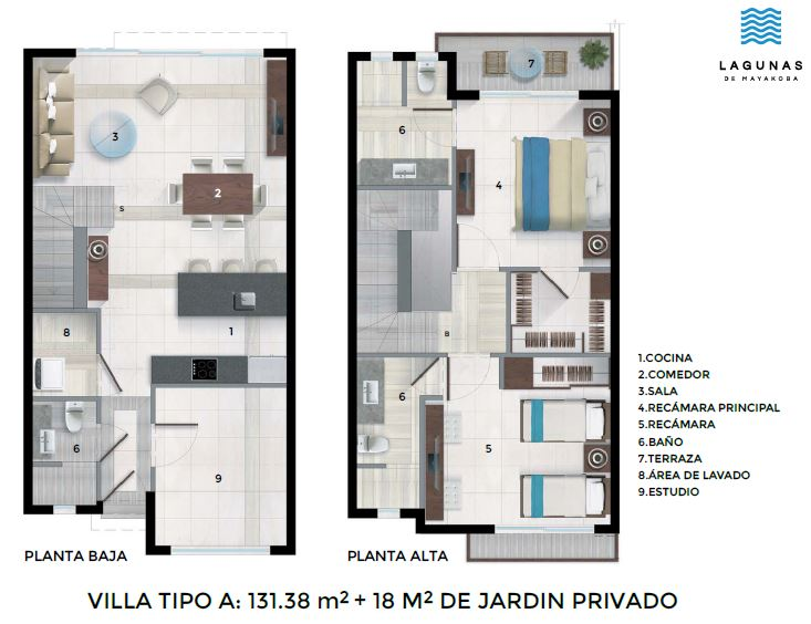Floor Plan for Tropical Villa 15 @ Ciudad Mayakoba