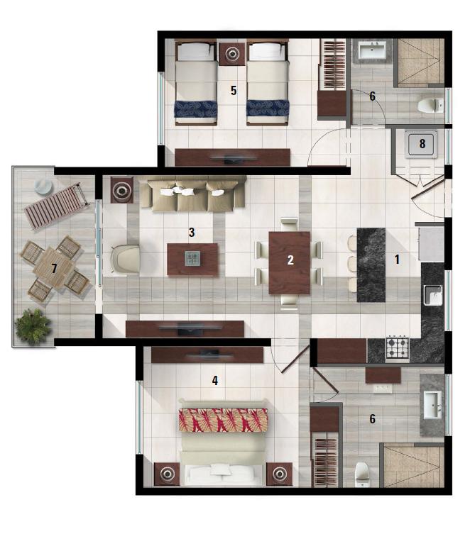 Floor Plan for Nagel's Luxury Condo @ Lagunas de Mayakoba