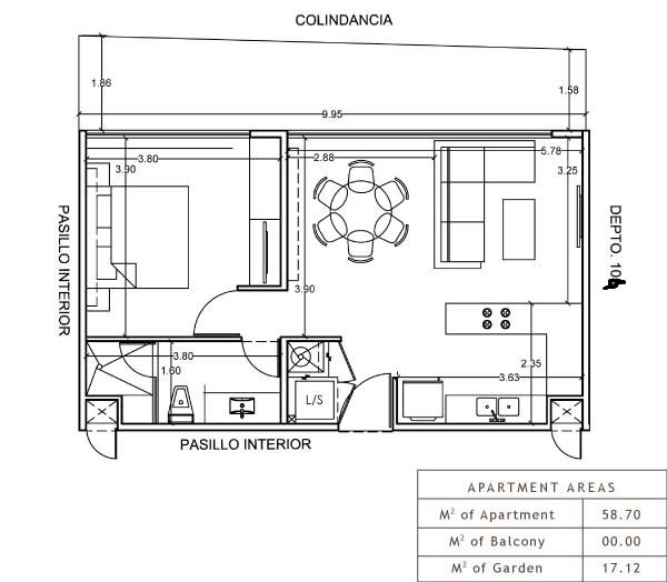 Floor Plan for Playa del Carmen Luxury Condo - Terrazas 104 -
