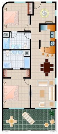 Floor Plan for Oceanfront Condo a Block Off 5th in Heart of Playa